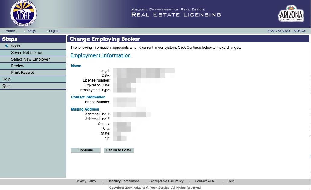 Putting your real estate license on referral through AZRE Online System