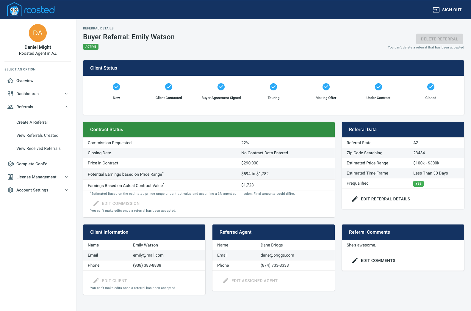 Roosted Referral Dashboard